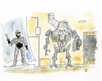 Robocop and Cain illustration inspired by Robocop 2