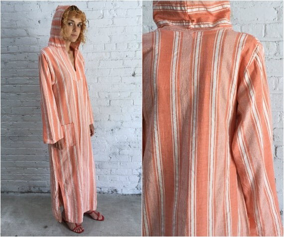 vintage cotton caftan / peach striped hooded beach cover up / 60s pastel coral hand woven kaftan