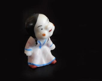 "Vintage Tiny Chinese Girl Figurine Under 2"" High Pink Dress Cute Miniature Girl Asian Figure Black Hair in Braids Glazed Porcelain"
