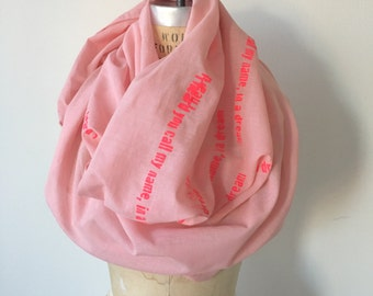 Pink Spring Scarf ,Poetry Scarves, Gifts for Her, text screen printed scarves, Fashion Accessories