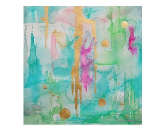 Watercolor Mint Green Abstract Art Print-Wall Art-Reproduction-Modern Art-Giclee Abstract Painting