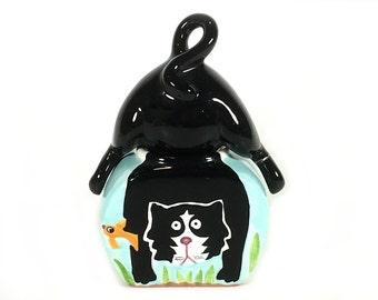 Vintage Ceramic Salt and Pepper Shaker Set, Cute Cat in the Fish Bowl