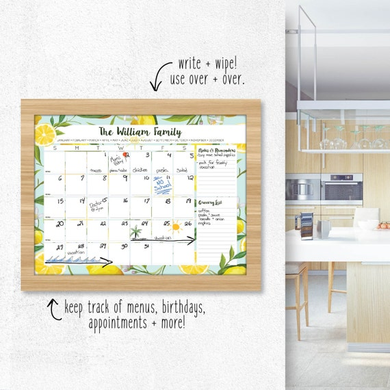 Diy Kitchen Calendar : Kitchen calendar family wall art dry erase