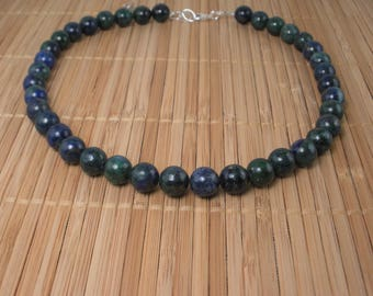Blue Green Necklace Big Round Bead Necklace Chunky Gemstone Green Blue Necklace Big Round Gemstone Necklace Shiny Necklace Malachite Azurite