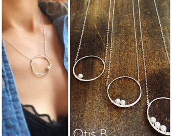 Modern eternity necklace, mothers necklace, pearl necklace, pea in pod, pregnancy, layering, karma, mother & child, Sterling silver, Otis b