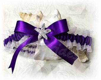 Starfish leg garter belt, regency purple rhinestone starfish bridal garter, beach wedding garter.