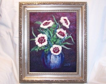 Needle Felted Wool Painting - Floral Still Life - Poppies - 3 Dimensional Wall Art - 11x14 Inch - Fiber Art - Gift - Flowers - Wall Art