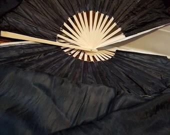 SILK Flow fans dance, veil fans, right & left hand pair - Beetle Black