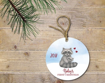 Baby's First Christmas Ornament, Raccoon Ornament, Woodland Creatures, Raccoon Christmas Ornament, Baby Shower Gift, New Baby, Christmas