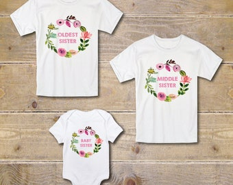 Sibling Shirts, 3 Kids, Big Sister Shirts, Three Girls, Three Sisters, New Baby, Biggest, Middle, Littlest, Baby Shower Gift, Matching