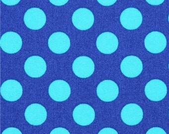 202491 dark blue Michael Miller fabric Ta Dot with teal dots