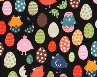 214338 black Alexander Henry fabric colorful egg chicks Little Chick
