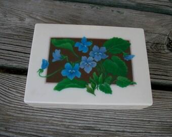 Old Plastic Dresser Box Blue Violets Design 1940's 1950's Vanity Dresser Box