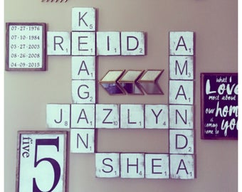 Large Letter Tiles for the wall . Home Decor . Gallery Wall Decor . Farmhouse Home Decor . Wood Signs