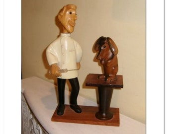 Veterinarian Dog Doctor Statue Carved Wood vintage wooden vet Romer Italy Italian Dr. Figure Pet