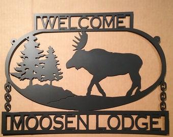 Custom Text Moose Sign Metal Wall Art    (F11)