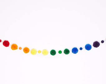 Rainbow Pom And Felt Ball Garland