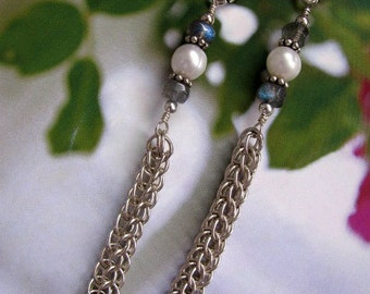 Sterling Silver Earrings Long Dangle Earrings, Handmade Sterling Silver Jewelry, Elegant Pearl Chain Maille Earrings