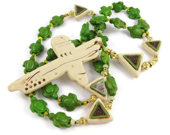 Green Howlite Anglican Rosary Carved Turtles Handmade Polymer Clay Imitative Ivory Cross and Focal Beads Trinity Symbolism Protestant Gift