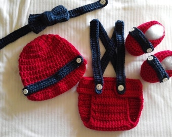 Crochet Baby Boy Red & Navy Blue Outfit Photo Prop Newborn Photos Baby Shower Gift  Diaper Cover Booties Newsboy Hat MADE TO ORDER