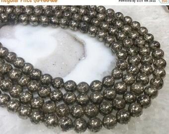 50% Mega Sale 8mm Round Pyrite Gemstone Beads