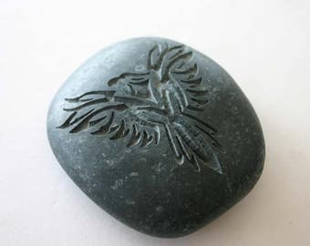 Phoenix Engraved Grey Stone Mythical Sacred Firebird Paperweight