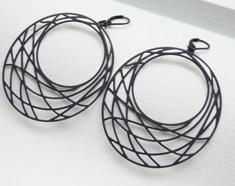 Dream Catcher Matte Black Earrings