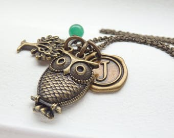 Vintage Style Owl and Wax Seal Monogram Long Necklace