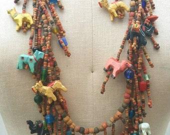 African Folk Art Animals Necklace // Trade Beads // Boho