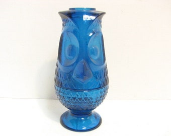 Viking Owl Candle Holder, Hurricane Tealight Candleholders,  Blue Glass Owl Figure, Mid Century Tea Light Holder