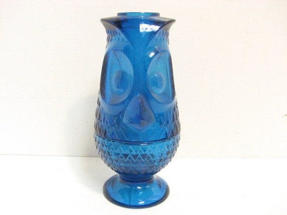 Vintage Viking Glass Owl Candle Holder, Hurricane Tealight Candleholders,  Blue Glass Owl Figure, Mid Century Tea Light Holder