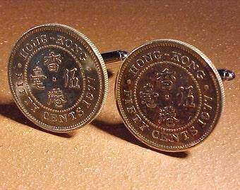 Hong Kong Coin Cuff Links