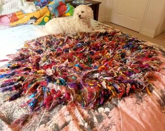 rug, silk rug, recycled silk rag rug, multicolour mat, crocheted mat,  boho rug, rainbow rug