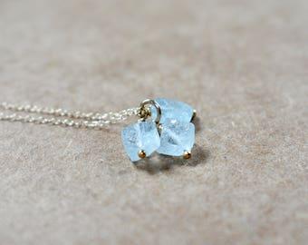 three small raw rough aquamarine gemstone nugget trio necklace pendant. gold filled chain. natural aquamarine rough gem trio pendant