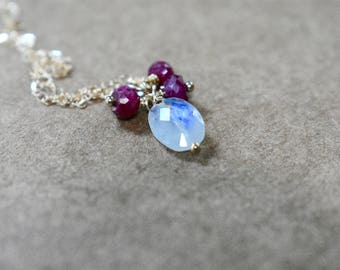 ruby & rainbow moonstone focal pendant necklace. oval faceted moonstone with rubies. dainty minimalist pendant necklace with moonstone