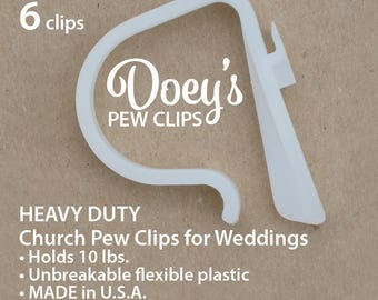 Doeys Pew Bow Clips secure heavy Wedding Ceremony Pew Decorations to Church Pews & Reception Tables. Bows, Flowers, Mason Jars, 6 Pew Hooks