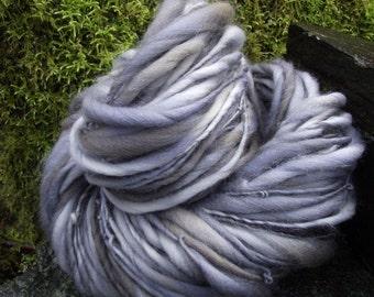 Handspun art yarn, handpainted hand dyed yarn, super bulky Polwarth  wool, OOAK art slub yarn,-STEAM LOCOMOTIVE