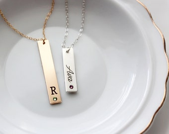 Birthstone Necklace - Thick Engraved Vertical Pendant Nameplate Bar Birthstone Necklace Date Initial Necklace Custom Bridesmaid Gift