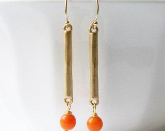 Orange Dangle Earrings,  Eco-Friendly Earrings by Perini