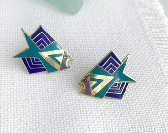 Vintage Laurel Burch Siamese Fish Enamel Earrings / 1990s Mod Signed