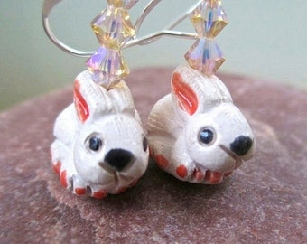 Easter Bunny Earrings, Easter Jewelry, Pink Bunnies, Cute Bunny Rabbits, Swarovski Crystal Dangles, Silver Ear Wires, Funky Fun for Her