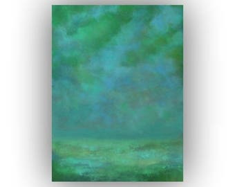 Large Abstract Landscape Oil Painting- 30 x 40 Blue and Green Night Sky and Field Art on Canvas- Original Palette Knife Painting