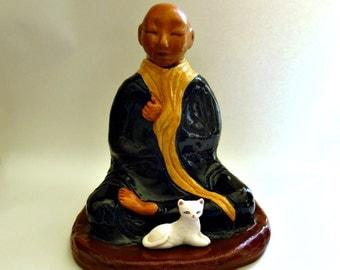 Buddha Statue Zen Buddhist Monk Jar Lidded Ceramic Vessel or Urn