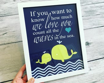 Whale Nursery Decor Whale Nursery Art - If You Want To Know How Much We Love You Count All The Waves In The Sea Quote - CHOOSE YOUR COLORS