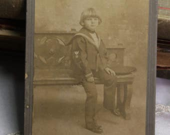 Vintage PHOTO- Boy in Sailor Suit-Sepia Toned Photo- Cute Child Cabinet Card- The Holler Studios
