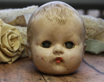 Vintage Doll Head- Sleepy Eyes- Scary Doll Part- Hard Plastic- Repurpose Doll Head Antique Doll Parts
