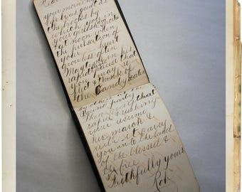 Antique Paragon AUTOGRAPH BOOK- Dated 1881 full of Script Handwriting- Victorian Album- Poems- Pen & Ink