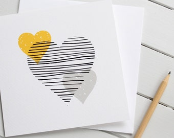 Simple Scandi Love Heart Wedding Anniversary Blank Card Monochrome Yellow Grey