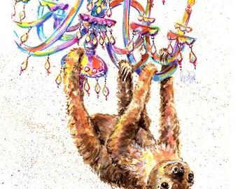 Sloth art, Sloth print, two toed Sloth, National Aviary Sloth, funny Sloth art by Marias Ideas art