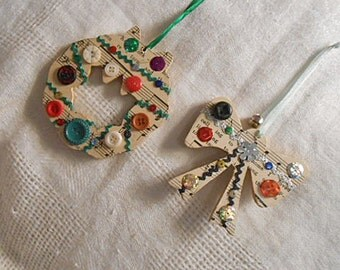 "2 CHRISTMAS Tunes ORNAMENTS Vintage Sheet Music Buttons Rick Rack Bells Bows Ribbon, OOAK Handmade Tree Pretties, Paper Covered Wood 4"" & 3"""